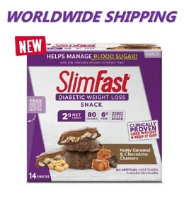 Slim Fast Diabetic Weight Loss Snack Nutty Caramel & Chocolate 14 Ct WORLD SHIP