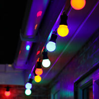8-40m Multi Colour Outdoor Christmas LED Festoon String Lights | Globe Bulb