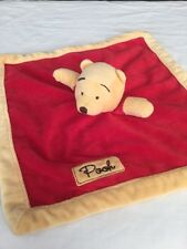 Disney Winnie the Pooh Security Baby Blanket 13 inch Plush Red Yellow Lovey