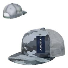 Gray Camo Camouflage Grey Flat Bill 5 Panel Military Trucker Baseball Cap Hat