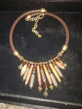 Chico's Tribal Necklace Leather Faux Stone Ethnic Fashion