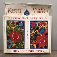Kent HOYLE Double Deck Bridge Playing Cards Vintage Plastic Poker Flowers NOS