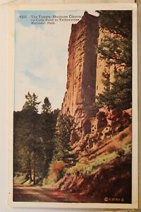 Yellowstone National Park Shoshone Canyon Cody Road Towers Postcard Old Vintage
