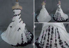2016 New Black/White Ball Gown Wedding Dress Bridal Gowns Custom Made Size 2-26+