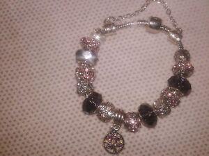 Women 925 Silver Plated Beaded Purple Tree Of Life Beaded Charm Bracelet