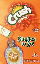 6 Boxes - Crush Orange Singles To Go - 36 Packets Total - Sugar Free Drink Mix