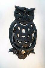 "Vintage Owl Cast Iron Door Knocker Wall 9"" tall Black Hoot Owl"