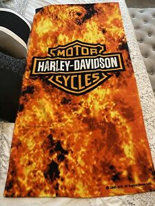 Harley Davidson Flames Shield Motorcycle Bath/Beach Towel  Preowned.