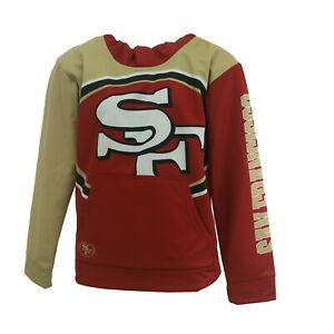 San Francisco 49ers Official NFL Kids Youth Size Athletic Hooded Sweatshirt New