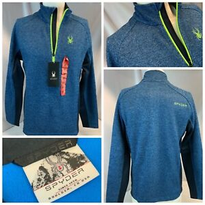 Spyder Outbound Ski Fleece Pullover M Blue ¼ Zip Poly Neon Logo NWT YGI B1-361