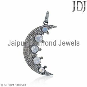 Natural Pave Diamond Moonstone Half Moon Pendant Sterling Silver Jewelry GIFTS