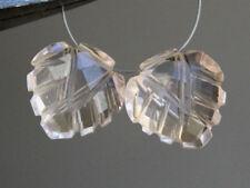 13mm. Pink Quartz Carved Leaf Briolette Gemstone Beads Matched Pair