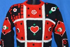 90s Sister Sister Heart Flower Black Red Green Ugly Holiday Sweater Womens L