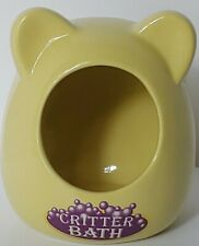 Pale Yellow Kaytee Ceramic Critter Bath /Small Dust Bath House For Hamsters