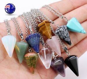 Women Girls Natural gemstones Stones Crystal hexagonal prism Lucky Necklace Gift