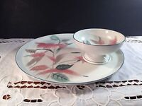 Mikasa China #F3003 SILK FLOWERS Crudite Plate & Bowl Chip and Dip