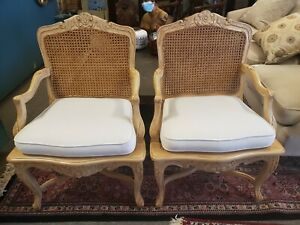 French Carved Frame Caned Arm Chairs