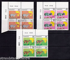 Zimbabwe - 1987 Duikers - CTO - CORNER BLOCKS of FOUR - SG 718-23