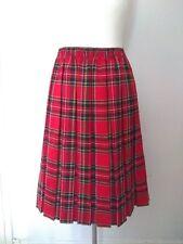 Vintage Traditional Pleated Elasticated Waist Red Tartan Skirt England Midi...