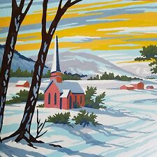 Paint by Number Church Steeple Framed COUNTRY WINTER Sunset Lane PBN MCM 60s
