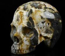 "4.6"" GEODE FLUORITE Carved Crystal Skull, Realistic, Crystal Healing"