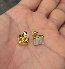 10K Gold Mens & Ladies 0.5ct. Canary Iced Lab Diamond Screw Back Stud Earrings