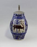 8345089 Keramik jagdlicher Schenk-Krug Westerwald Hirsch Zinndeckel