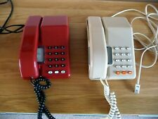 2 vintage Viscount BT telephones - 1980s - red and beige - fully working