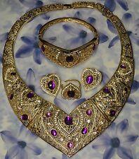 Dolly-Bijoux Fantaisie Parure 4PC Coeur Améthyste Diamant Cz Bague T54 signé FB