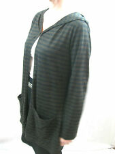 Paula Ryan Size L or 14 Black Brown Merino Wool Cardigan