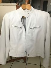 Lafayette 148 White Leather Motor Jacket Petite 4