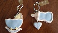 CHRISTMAS Gingerbread Cookie Lot of 2 ORNAMENTS BLUE BOTTLE & BUGGY 1st xmas NEW