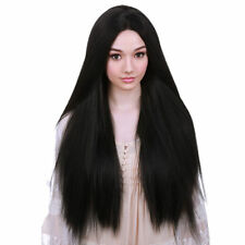 Women Black Long Straight Hair Wigs Heat Resistant Full Wig Cosplay Party Hair