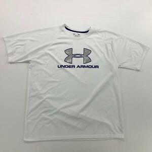Under Armour Boys Youth Medium Loose White Colour & Blue Colour Big Logo