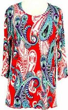 DAISY QUEEN Paisley Womens Tunic Tops with 3/4 Sleeves Covered in Size S-M-L-XL