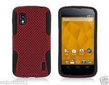 LG Nexus 4 E960 Google Phone Mesh Hybrid Case Skin Cover Red Black