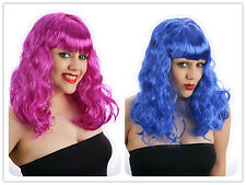 Halloween Womens Ladies Blue Purple California Girl Katy WIG Perry Fancy Dress