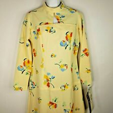 Vintage 70s Back Street Pale Yellow Floral Keyhole Drop Waist Day Dress Sz 12