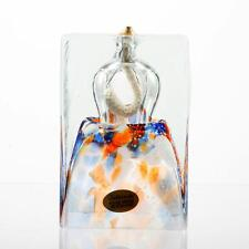 Adam Jablonski Art Glass Oil Lamp Hand Made in Poland Orange and Blue