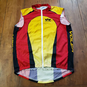 Voler Cycling Vest Mens L Windbreaker Large Red Yellow Black Sleeveless