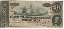 Csa 1864 Au Confederate Currency T67 $20 Note Capitol Nashville #29875 2n Series