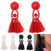 Fashion Women Bohemian Drop Tassel Fringe Long Dangle Earrings Girl Jewelry