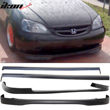 Fits 01-03 Honda Civic PP Front + Rear Bumper Lip + Side Skirts