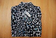 NWT BLack Cream Turquoise Leopard Print TALBOTS LS ButtonFront Blouse Medium Pet