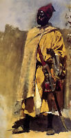 Oil painting edwin lord weeks - moorish guard young soldier with sword on canvas