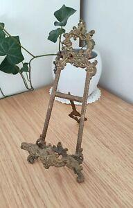 Vintage Ornate Brass Easel Art Holder Picture Stand