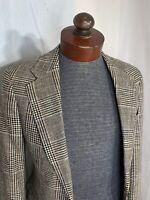 Vtg Polo University Ralph Lauren Black Plaid Wool Sport Coat Jacket Size 38S EUC