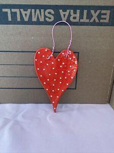 Handmade Ceramic Red Eith White Polka Dot Heart Ornament