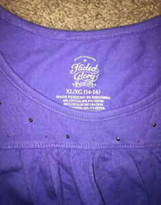 Girl's Faded Glory purple top with frills & silver decorations ~ Size XL 14/16