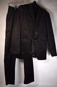 Zara Man Studio Suit Mens Two Button Blazer Pants 48  Check Black Brown  NWT